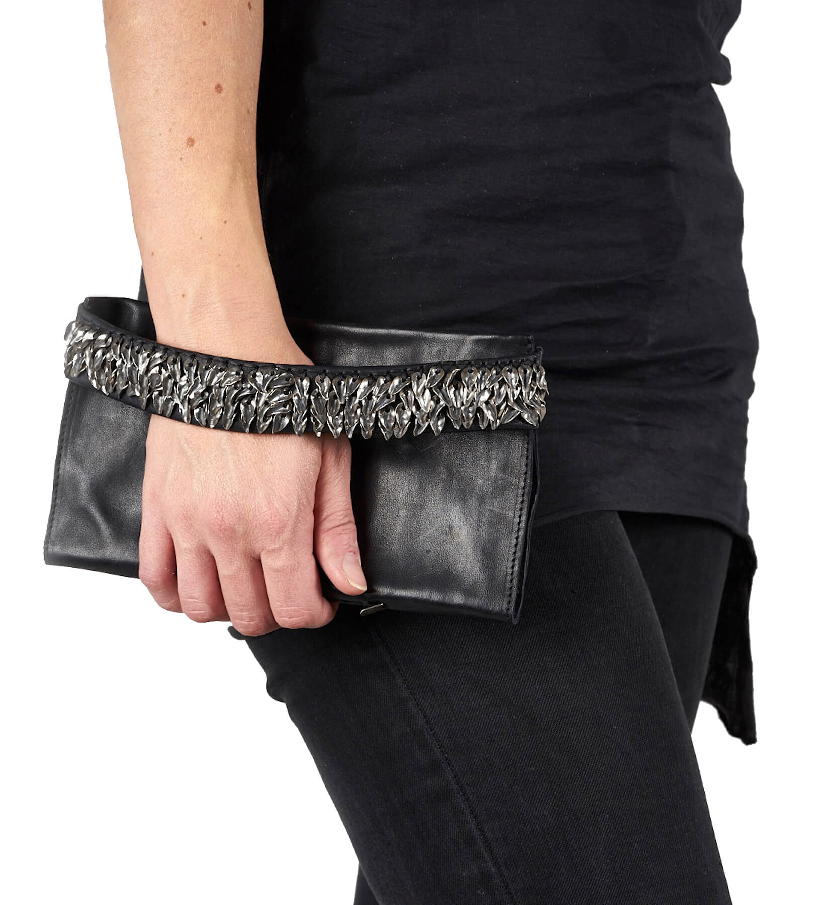 daniele basta leather and silver wallet - arido foglie wearing