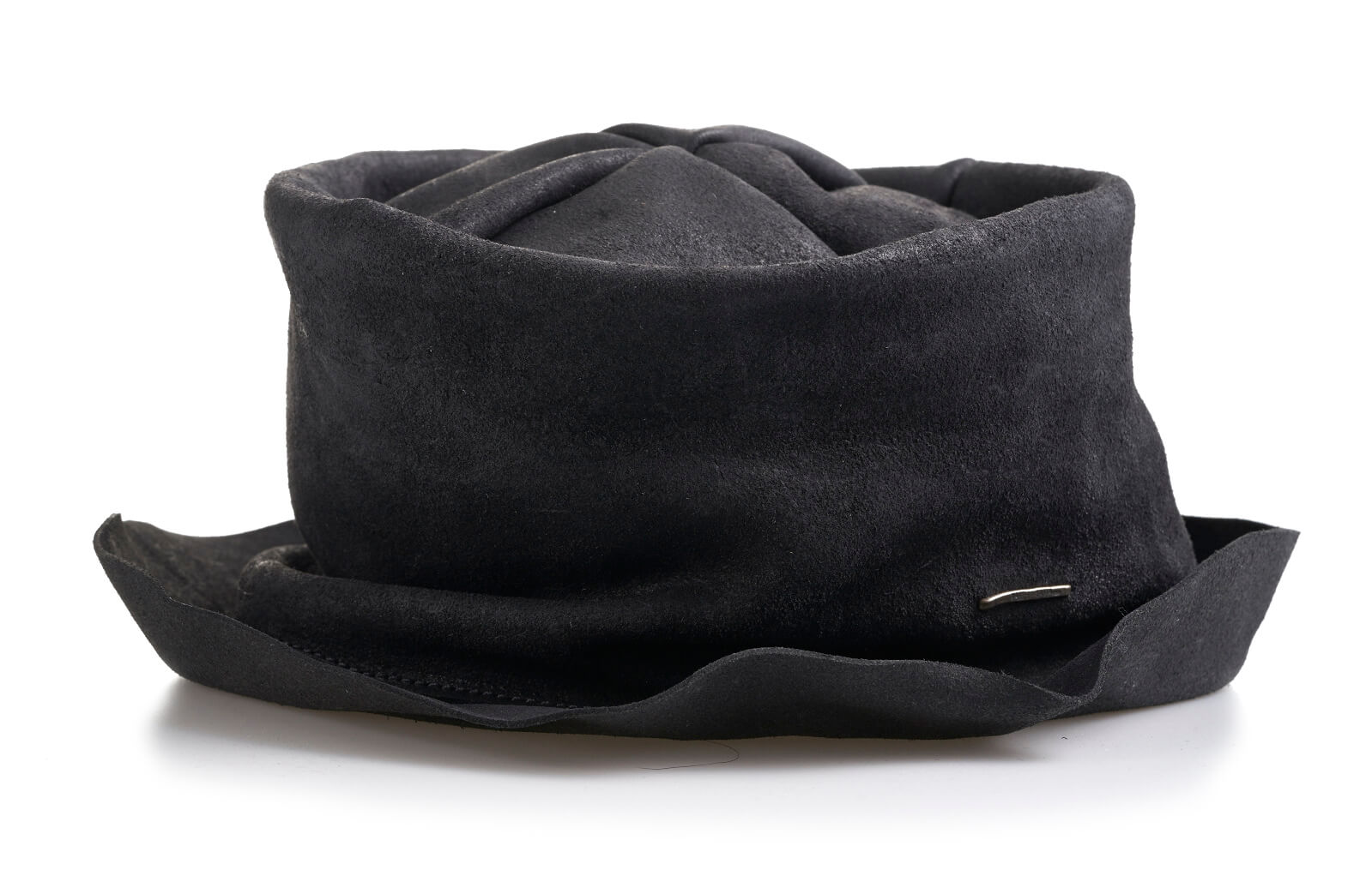 daniele basta leather and silver hats - pope hat front