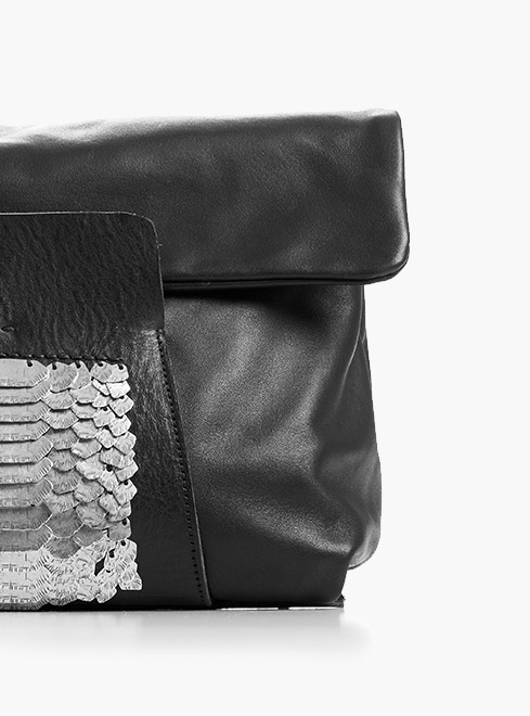 DANIELE BASTA LEATHER AND SILVER LUXURY BAGS 2