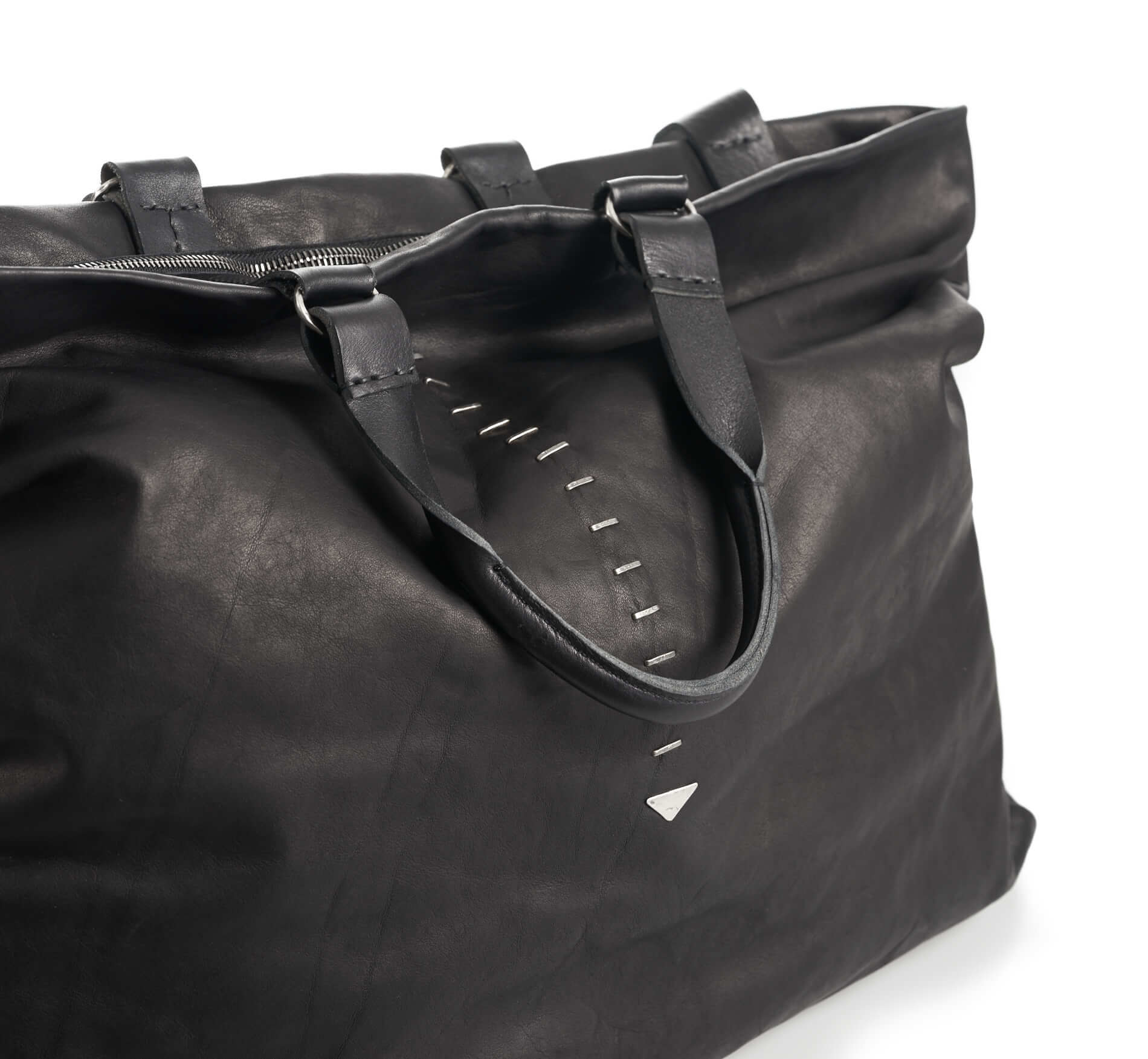 daniele basta leather and silver bags - kali foglie silver detail