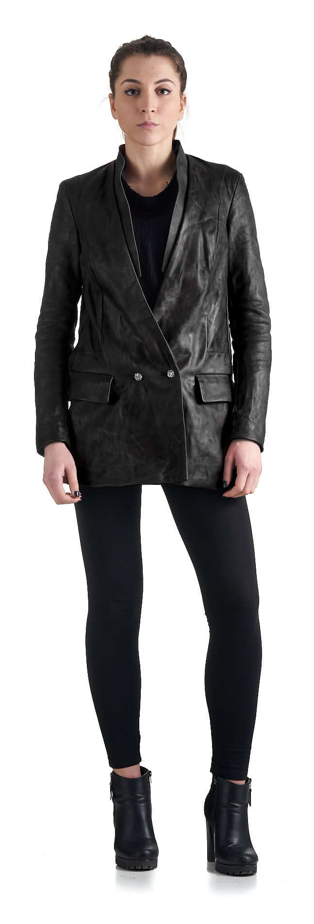 DANIELE BASTA leather and silver jacket - Achimi