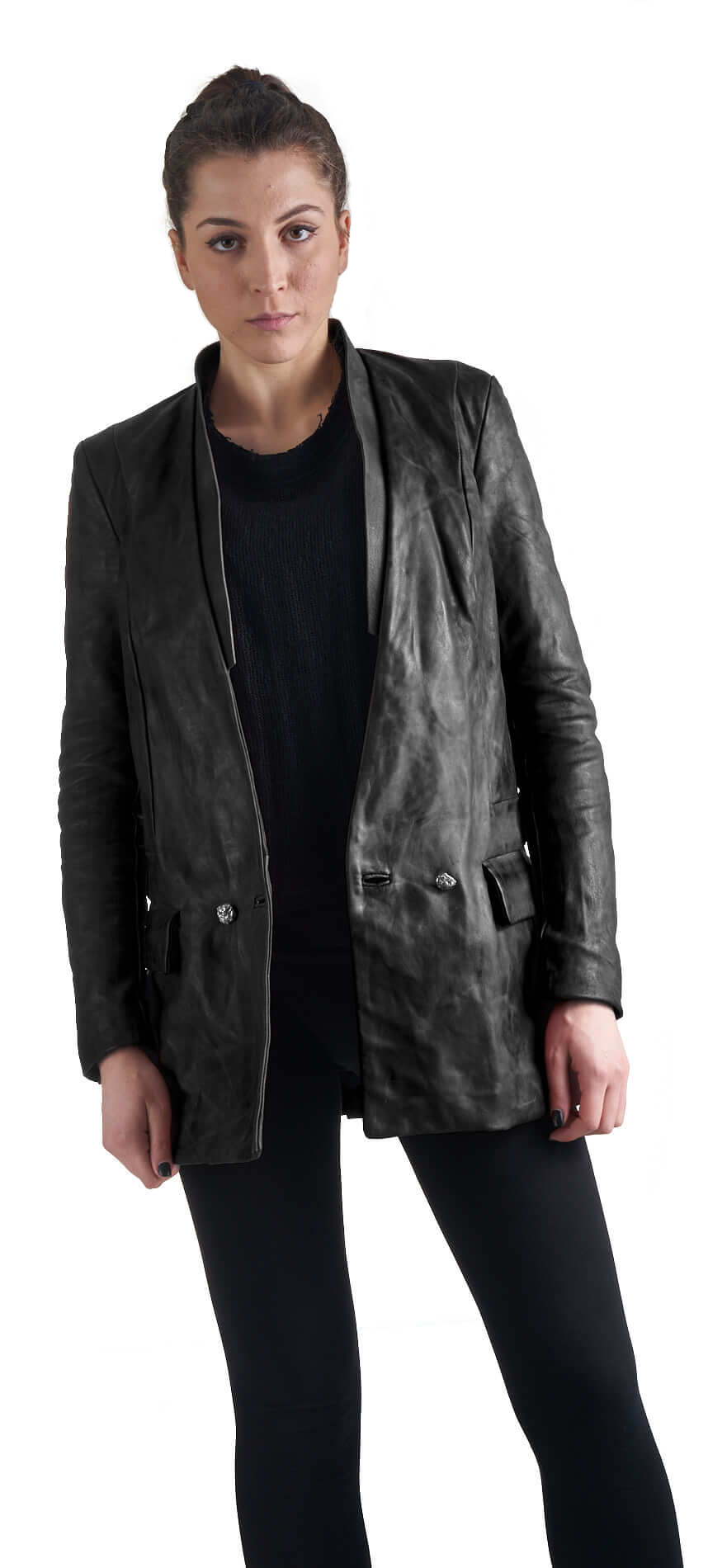 DANIELE BASTA leather and silver jacket - Achimi wearing
