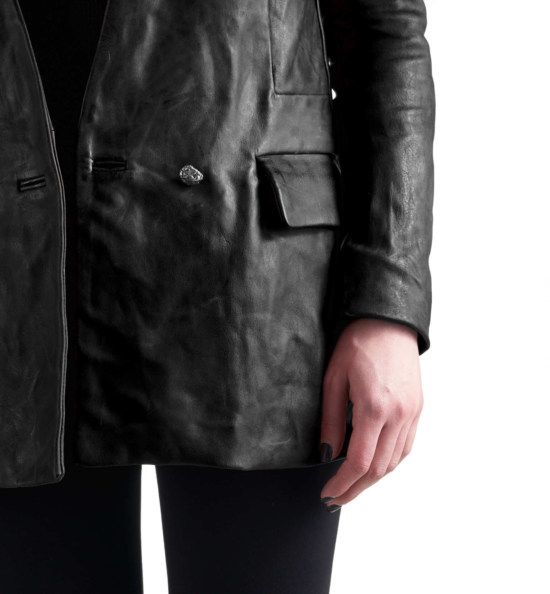 DANIELE BASTA leather and silver jacket - Achimi silver detail
